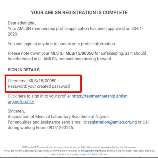 Registration Complete Mail